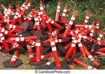 Orange safety cones along highway