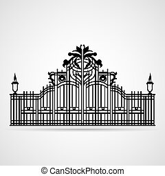 Ornamental Gate - Graphical Ornamental Gate on white Vector...