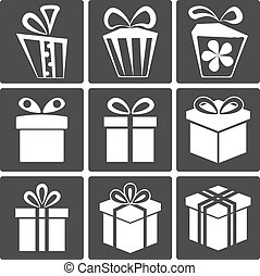 Gift icon set - Gift box icon set different styles Vector...