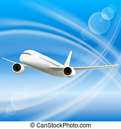 Aeroplane - White Airplane in sky. Cool Vector illustration