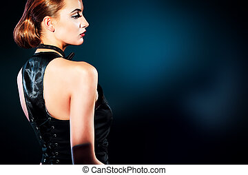 vintage lady - Elegant young woman posing in vest and black...
