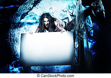 halloween board - Female zombi flying at the night cemetery...