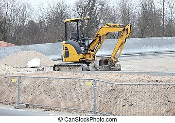 construção, cavador, local