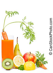 vegetable juice - a glass with carrot juice and fruit before...