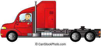 truck with man showing thumb up - heavy american truck with...