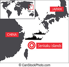 Senkaku map - Senkaku islands map. Japan and China...