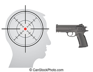 crosshair in head, gun in front of the head - silhouette illustration