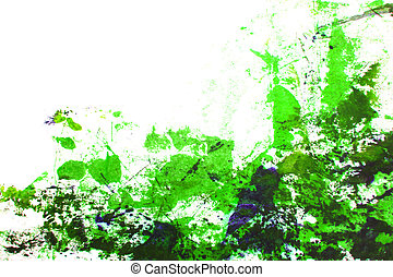 Abstract hand drawn painting / graphics: green grass-like patterns on white background