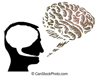 human head with brain outside - isolated illustration