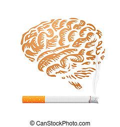 人間, タバコ,  -, イラスト, 脳, 背景
