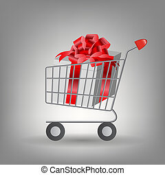 Shoping cart with Christmas gifts Vector illustration