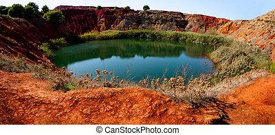 Bauxite Mine with Lake at Otranto, Apulia, Italy