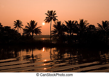 Sunset in the Backwaters of Kerala - In Kerala, India, a...