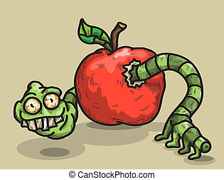 Worm and apple - sarcastic worm looks out of an apple