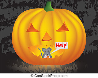 mouse inside Halloween pumpkin - mouse inside pumpkin crying...