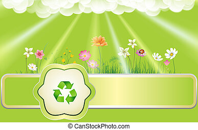 Ecology background with flowers, sun beams and recycling...