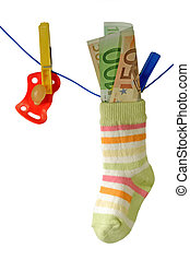 Education benefit - Baby socks with pacifier and euro...