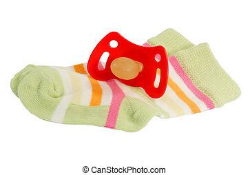 Little socks for a young Baby with pacifier