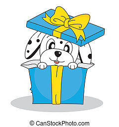 dalmatian dog out of a gift box Illustration with white...