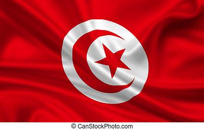 Tunisia - waving flag of tunisia