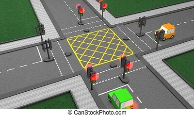 Traffic junction - Road traffic light concept animation