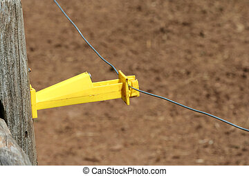 Close up of a electric fence - A Close up of a electric...