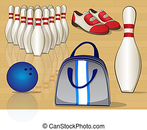 Bowling Equipment Icons - Graphic set of various bowling...