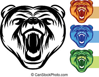 Bear Mascot Icon - Various color variations of an angry bear...