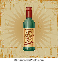 Retro Wine Bottle - Retro wine bottle in woodcut style....