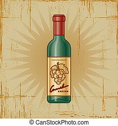 Retro Wine Bottle - Retro wine bottle in woodcut style....