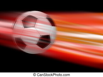 Kick - Abstract 3d illustration of a football flying through...