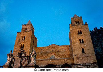 the facade of the norman cathedral of Cefalu' in Sicily