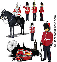 Big collection of London image labels Vector illustration