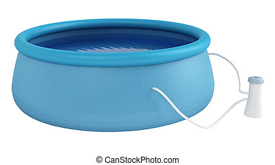 Childs plastic swimming pool - Childs blue plastic swimming...