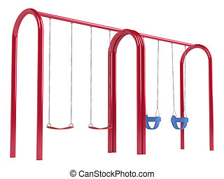 Childrens swings on tubular frame - Childrens swings on a...