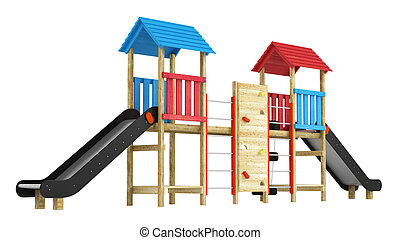 Double slide for childrens playground - Roofed wooden...