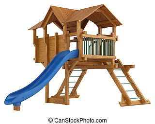 Covered wooden platform and slide with ladders for kids to...