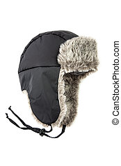 childrens fur cap on a white background