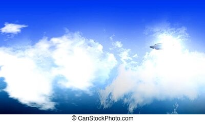 UFO flying over sky - UFO flying in sky.