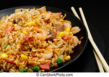 Special fried rice - A plate of oriental food Special fried...