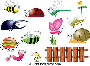 Insects in backyard vector for graphic work