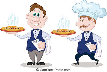 Waiters deliver a hot pizza - Cartoon waiters deliver a...