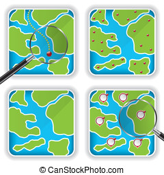 Map icons and magnifying glass
