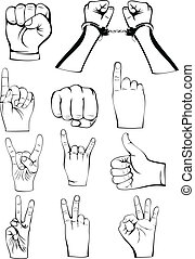 hands gestures  - Vector  illustration hands gestures set