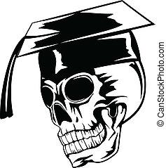 skull in graduation cap - Vector illustration skull in...