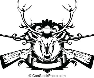 head artiodactyl and crossed guns - Vector illustration head...