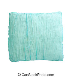 Blue Pillow isolated on the white background with Clipping Path