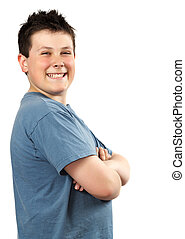 young proud teen boy - closeup portrait of a proud happy...