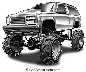 4X4 Mudder - Black line and Gray scale illustration