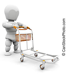 Person with luggage trolley - 3D render of someone pushing a...